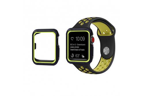 Чехол спортивный EVA для Apple Watch 42 mm Черный/Зеленый