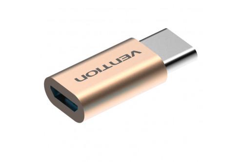 Адаптер-переходник Vention USB Type C M/ USB 2.0 micro B 5pin F Золотой