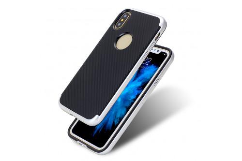 Чехол пластиковый EVA для Apple iPhone X - Черный/Серебристый