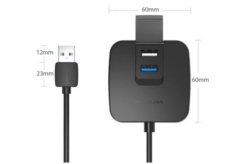 Концентратор Vention OTG USB 2.0/ USB 3.0 на 4 порта Черный - 1м.
