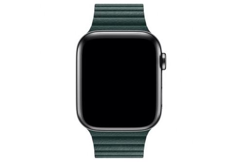 Кожаный ремешок EVA для Apple Watch 42/44 mm Тёмно-Зеленый