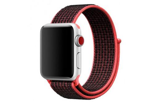 Нейлоновый ремешок EVA для Apple Watch 42/44 mm Черный/Красный