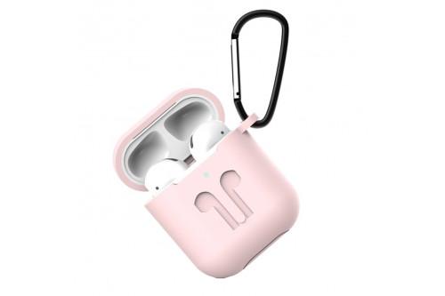 Чехол силиконовый EVA для наушников Apple AirPods 1/2 с карабином  - Розовый