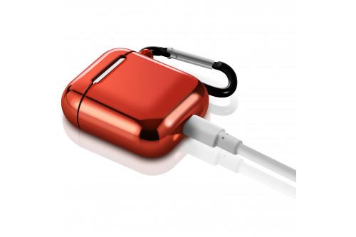 Чехол EVA для наушников Apple AirPods 1/2 с карабином - Красный