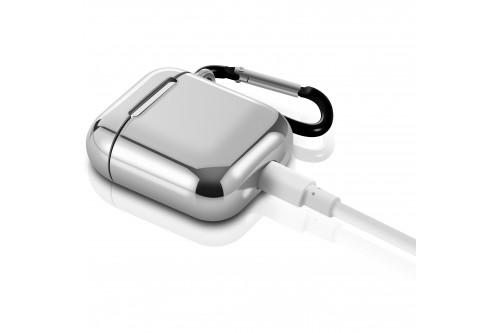 Чехол EVA для наушников Apple AirPods 1/2 с карабином - Серебристый